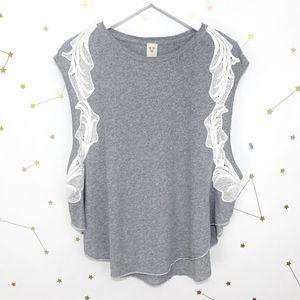 Free People • Gray Crochet Bonsai Tee Shirt Tank S